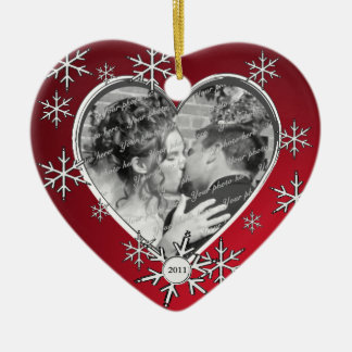 Winter Snowflake Frame Red Ceramic Heart Ornament