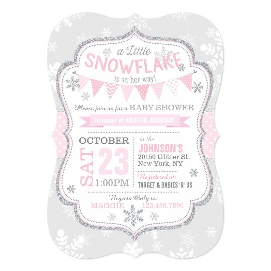 Winter Snowflake Glitter Baby Shower Invitation