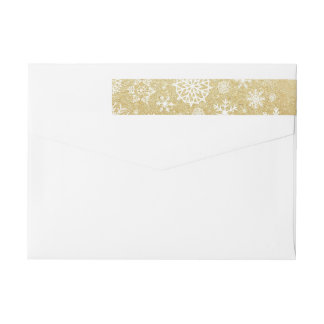 Winter Snowflake Gold Glitter Black Monogram Label Wraparound Return Address Label