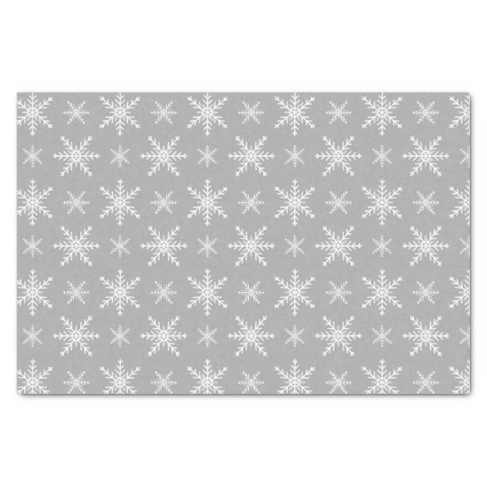 Winter Snowflake Pattern On Grey Tissue Paper