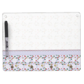 Winter Snowflake Pattern With Border Dry Erase Board With Keychain Holder