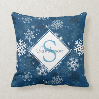 Winter Snowflake Print Monogram Pillow, Blue Throw Pillow