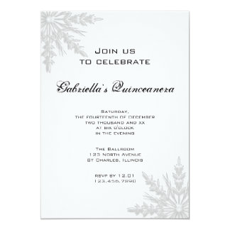 Winter Snowflake Quinceanera Invitation