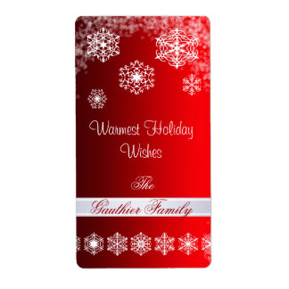 Winter Snowflake Red Holiday Wine Label Shipping Label