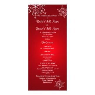 Winter Snowflake Red Wedding Program Rack Cards