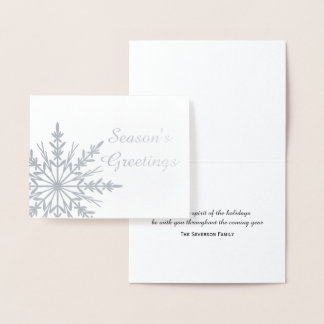 Winter Snowflake Season's Greetings Christmas Foil Card