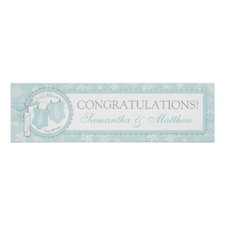 Winter Snowflake Tie Twin Boys Baby Shower Banner Poster
