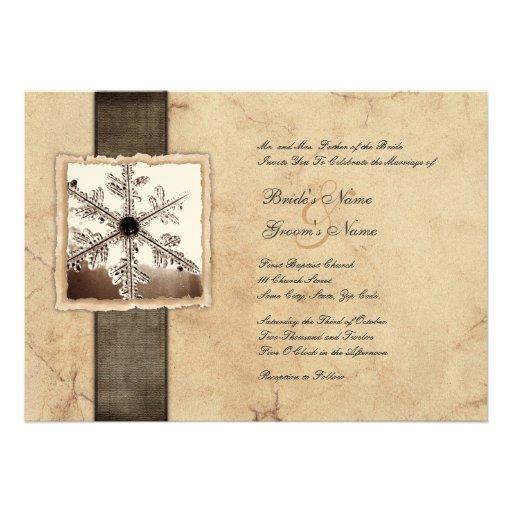 Winter Snowflake Vintage Wedding Invitations