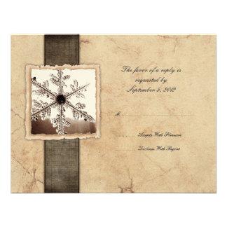 Winter Snowflake Vintage Wedding RSVP Invitations
