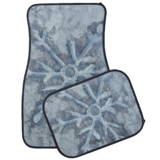 Winter Snowflake Watercolor Car Mat