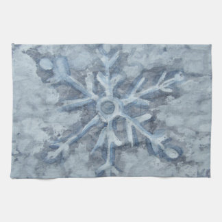 Winter Snowflake Watercolor Kitchen Towel