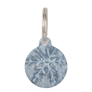Winter Snowflake Watercolor Pet Tag