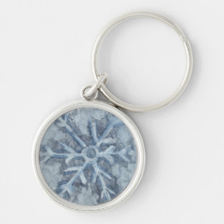Winter Snowflake Watercolor Silver-Colored Round Keychain