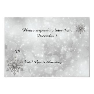 "Winter Snowflake Wedding RSVP Card 3.5"" X 5"" Invitation Card"