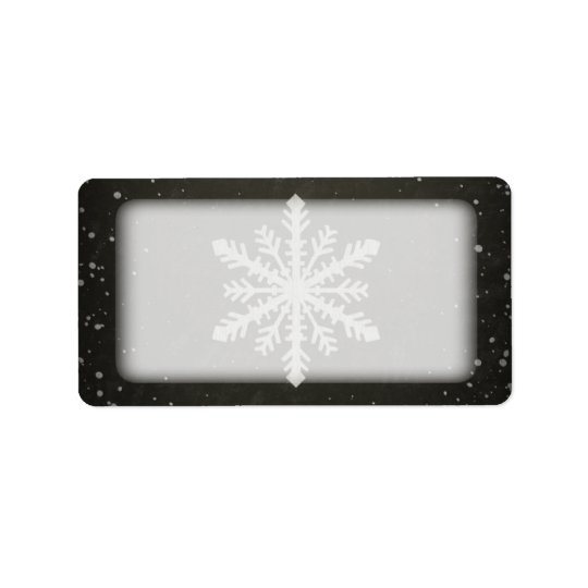 Winter Snowflake White Chalk Drawing Label