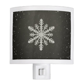 Winter Snowflake White Chalk Drawing Night Lite