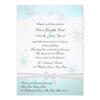 Winter Snowflakes and Ribbon Wedding Card