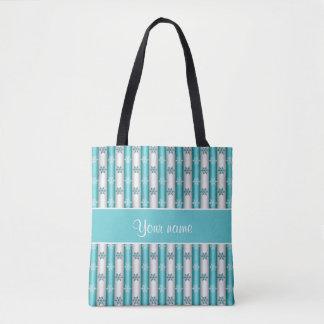 Winter Snowflakes Blue White Stripes Tote Bag