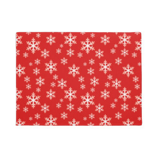 WINTER SNOWFLAKES, Christmas Red & White Doormat