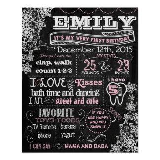 Winter Snowflakes First birthday chalkboard (123) Poster