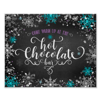 Winter Snowflakes Hot Chocolate Bar Table Sign Poster