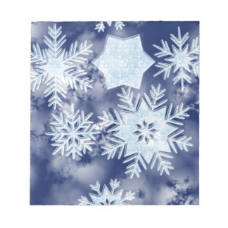 Winter Snowflakes Icy Blue Notepads