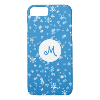 Winter Snowflakes on Blue Monogram iPhone 8/7 Case