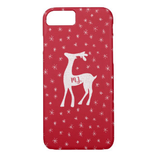 Winter snowflakes on Christmas red with reindeer iPhone 8/7 Case
