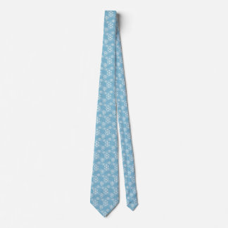 Winter Snowflakes on Light Blue Christmas Tie