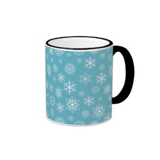 Winter Snowflakes on Teal Mug