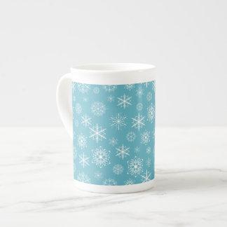 Winter Snowflakes on Teal Porcelain Mug