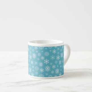 Winter Snowflakes on Teal Espresso Mugs
