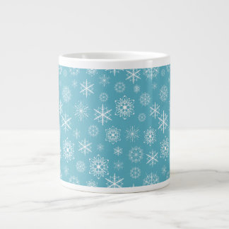 Winter Snowflakes on Teal Extra Large Mug