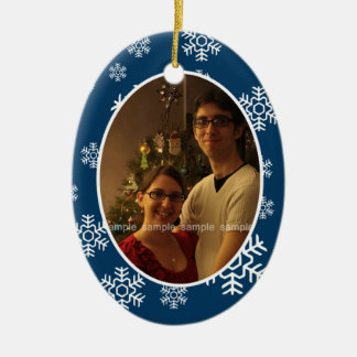 Winter Snowflakes Oval Photo Ornament