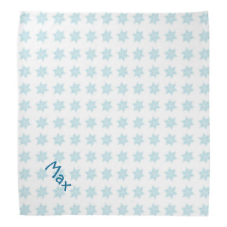 Winter Snowflakes Pattern Blue Holiday Pet Name Bandana
