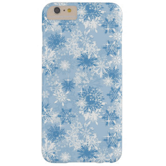 Winter snowflakes pattern on blue barely there iPhone 6 plus case