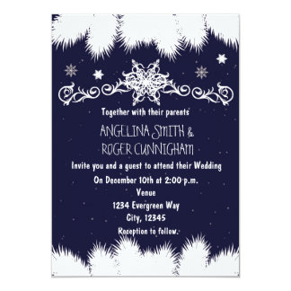 Winter Snowflakes & Pine Tree Wedding Invitation