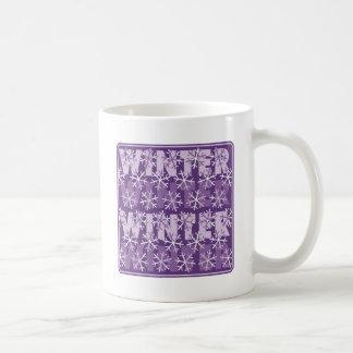 Winter Snowflakes Purple Basic White Mug