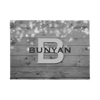 Winter Snowflakes Rustic Grey Wood Pattern Name Doormat