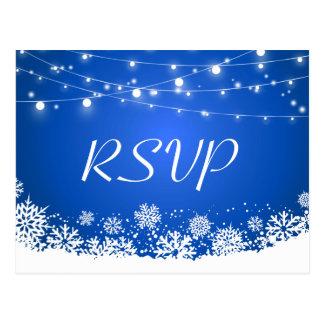 Winter Snowflakes String Lights Navy Blue RSVP Postcard
