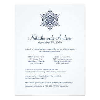 Winter Snowflakes Wedding Accommodations Card
