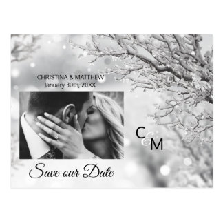 Winter Snowflakes Wedding SAVE OUR DATE | PHOTO Postcard