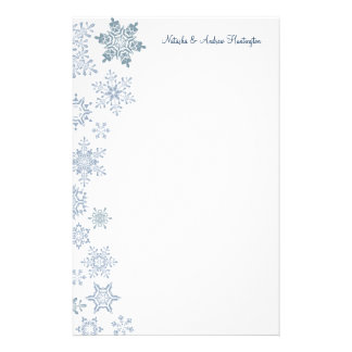 Winter Snowflakes Wedding Thank You Letterhead Personalized Stationery