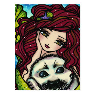 Winter Snowflakes White Seal Mermaid Art Fantasy Postcard