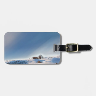 winter snowing landscape luggage tag