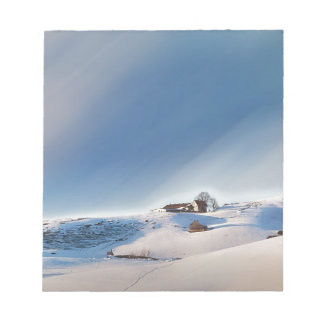 winter snowing landscape notepad