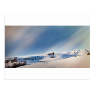 winter snowing landscape postcard