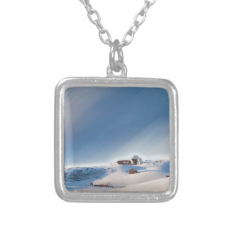winter snowing landscape silver plated necklace
