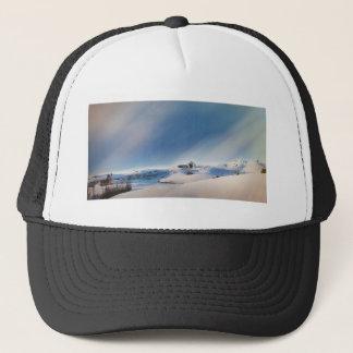winter snowing landscape trucker hat