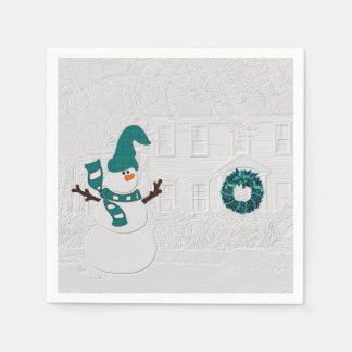 Winter Snowman and House Wreath in Teal Holiday Napkin